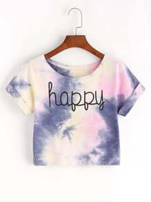 Tie Dye Letter Print Crop T-shirt