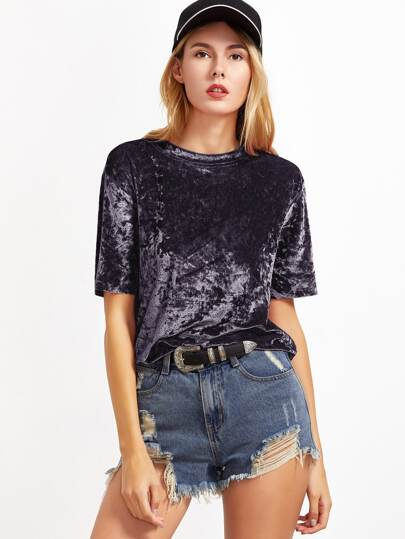 Velvet Shirt Kurzarm