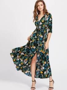 Smocked Waist Tassel Tie Button Up Tropical Dress