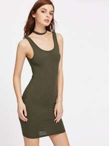 Double U Neck Ribbed Knit Bodycon Tank Dress