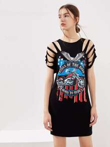 Graphic Print Distressed Tee Dress