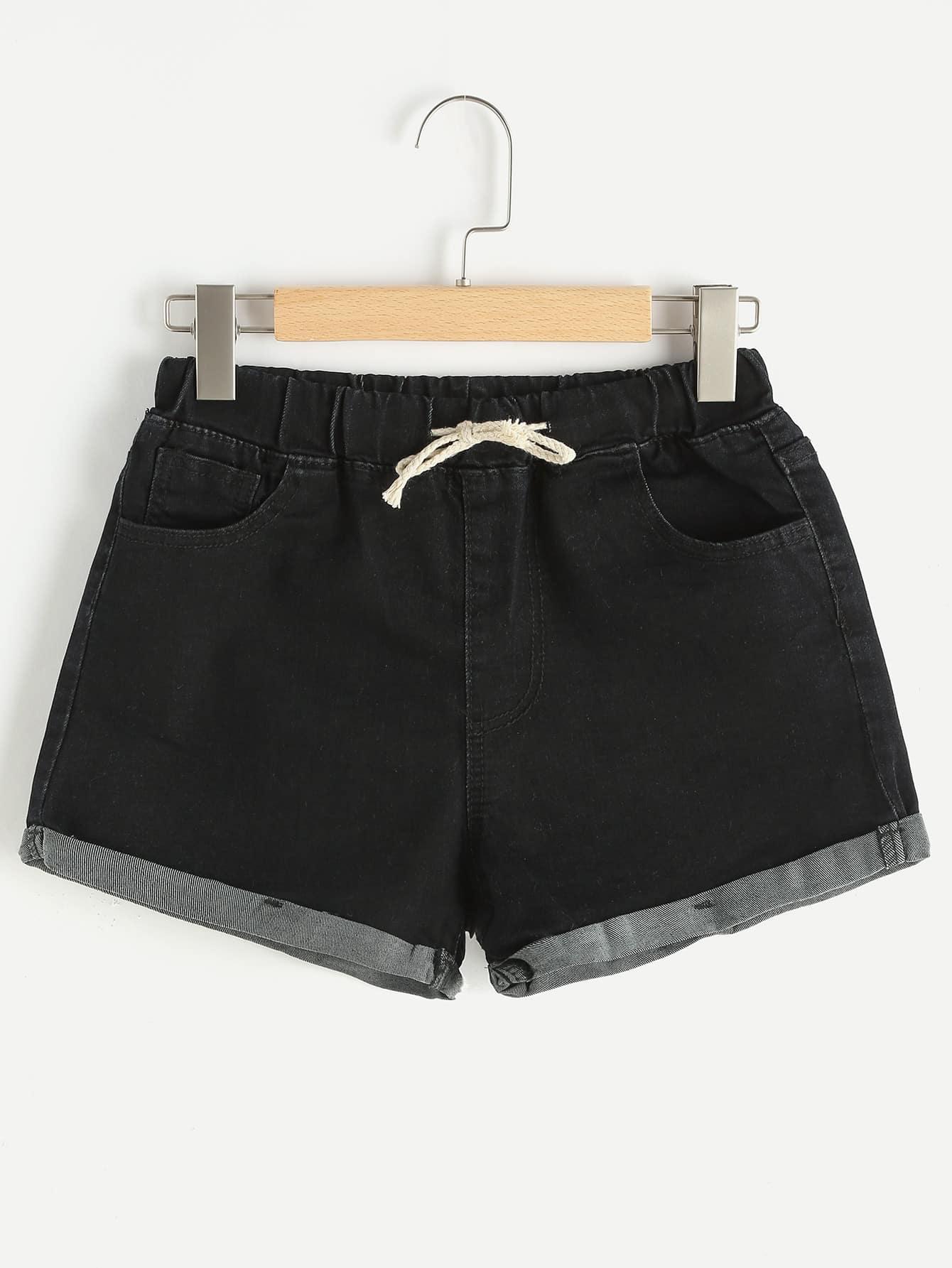 Фото Rolled Hem Drawstring Denim Shorts. Купить с доставкой