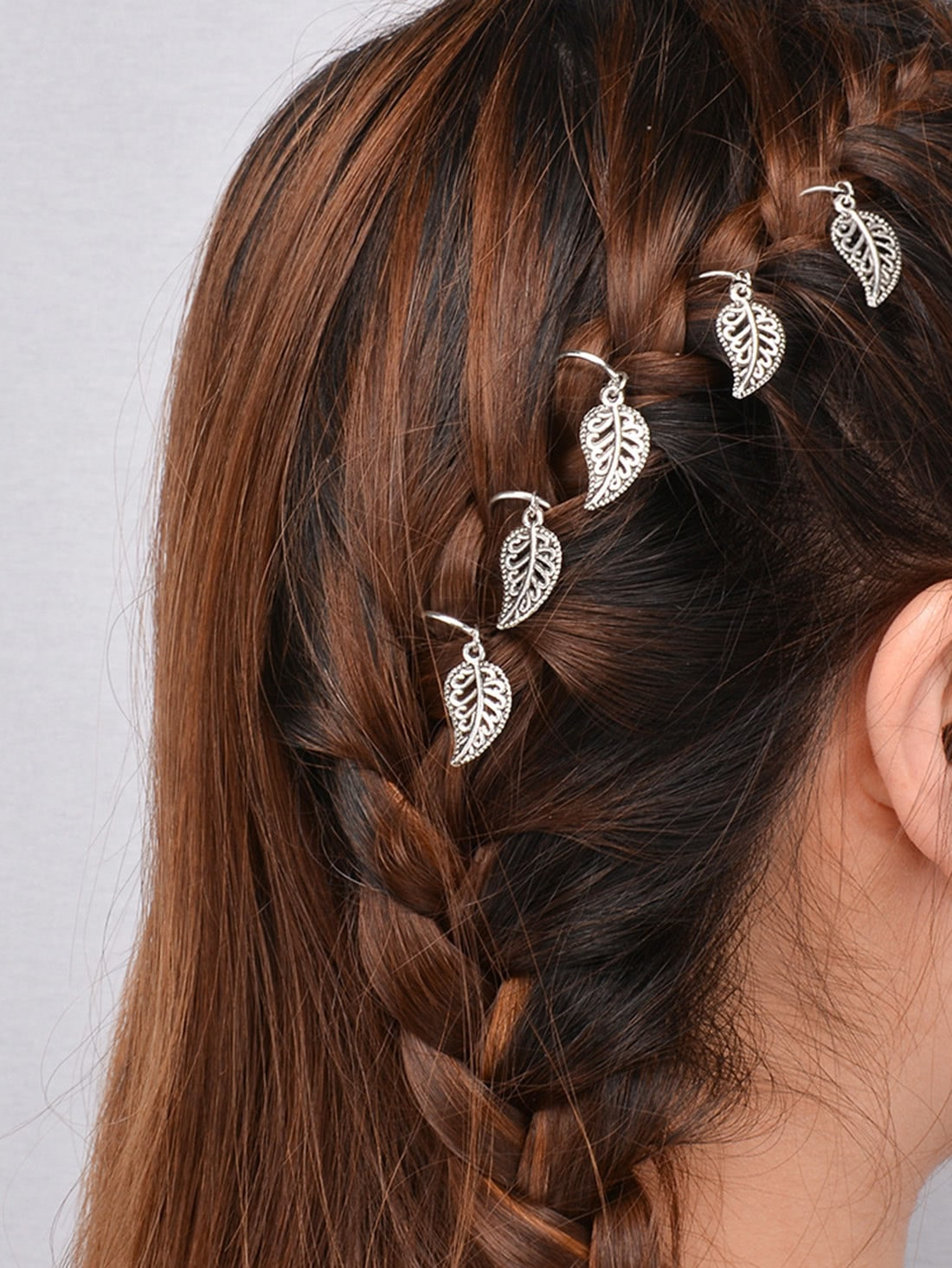 Silver Leaf Shaped Dreadlock Hair Accessory Set 5 pcs leaf hair accessory
