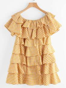 Yellow Checkered Layered Ruffle Off The Shoulder Dress