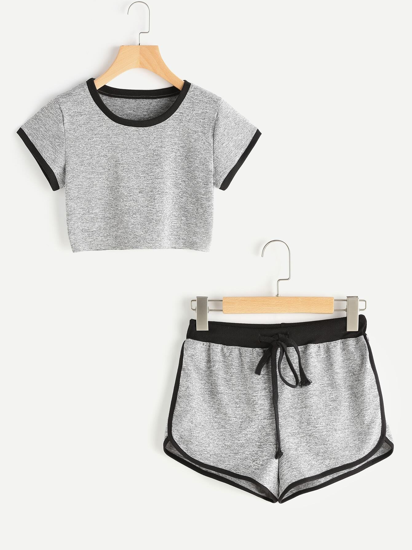 Ringer Crop Tee With Dolphin Hem Shorts -SheIn(Sheinside)