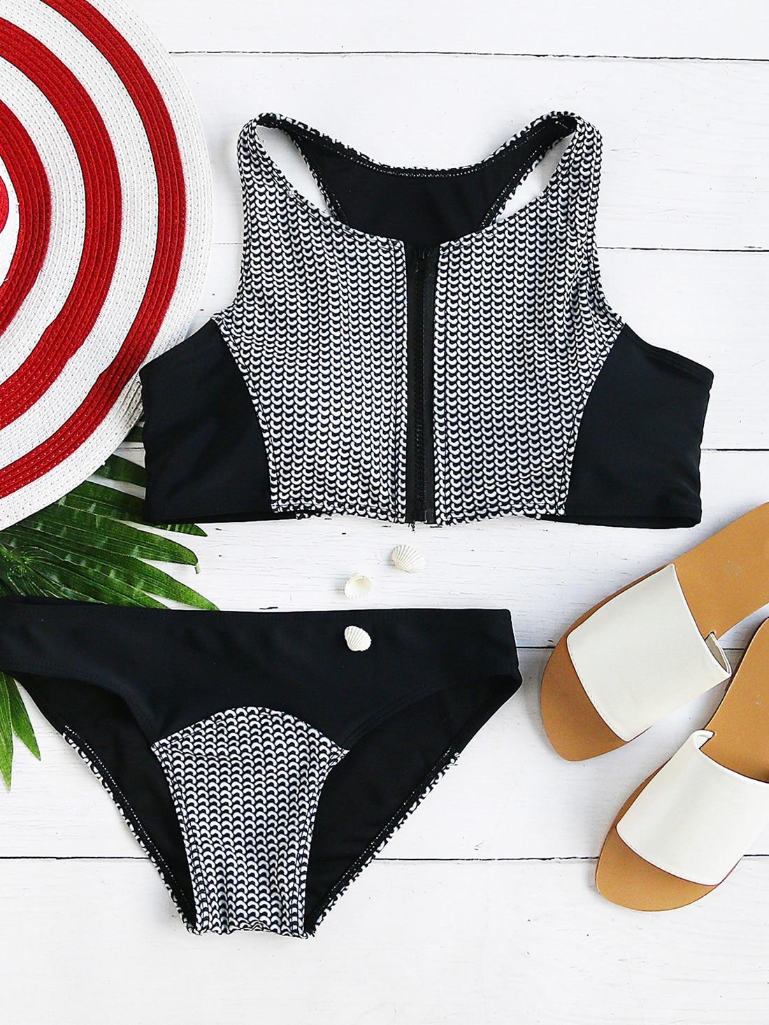 Фото Black And White Printed Zipper Up Racer Back Bikini Set. Купить с доставкой