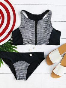 Noir et blanc imprimé zipper jusqu'à Racer Back Bikini Set