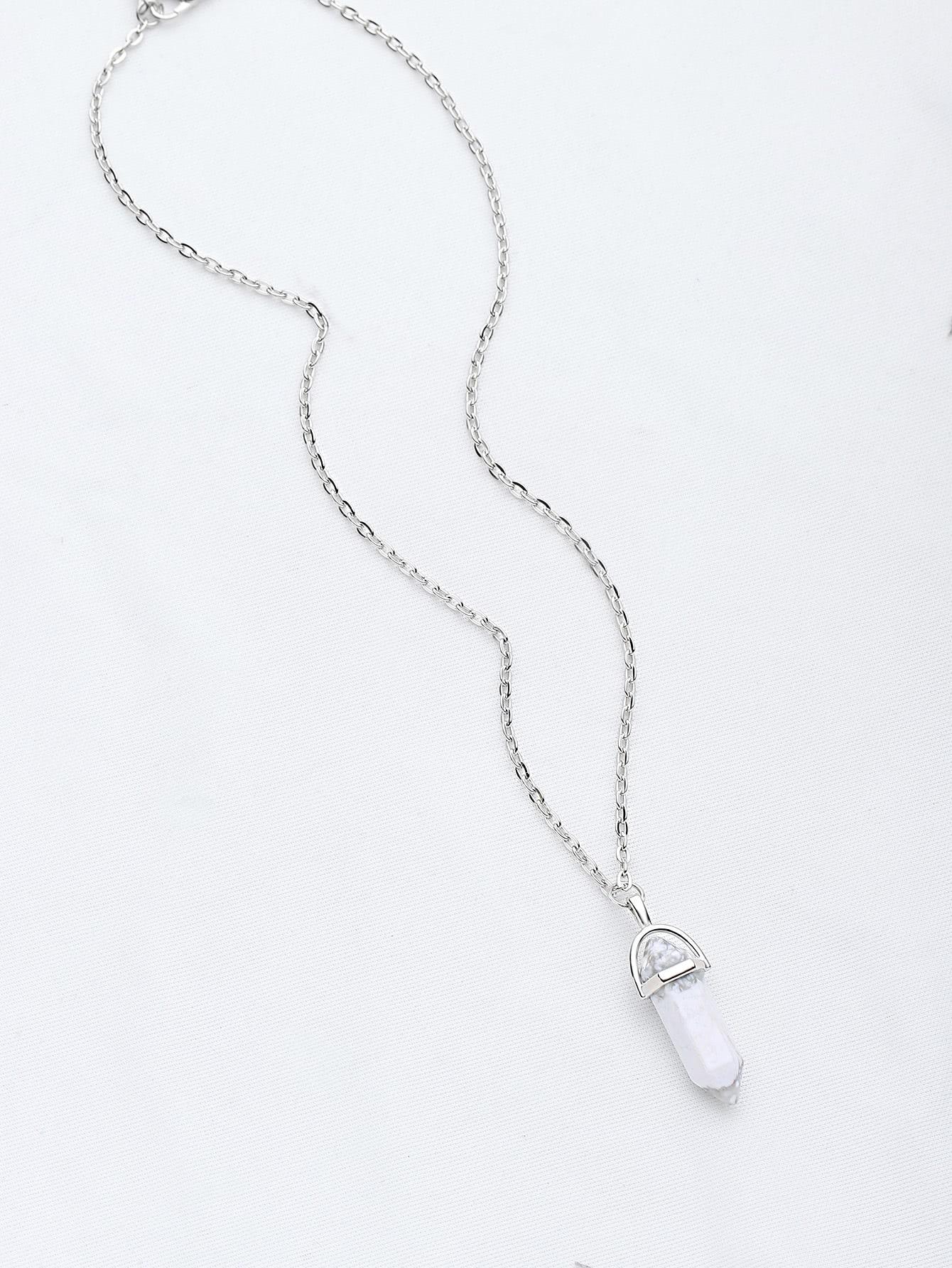 Фото Contrast Stone Pendant Chain Necklace. Купить с доставкой
