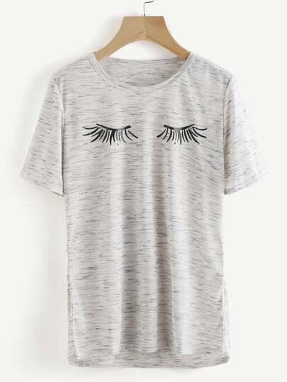 Space Dye Eyelash Print Tee