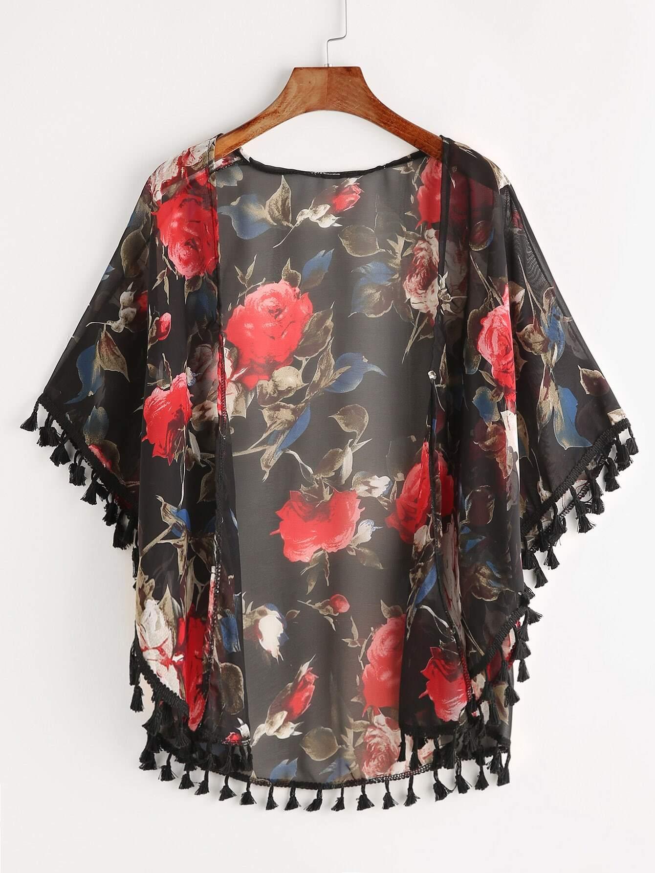 Floral Print Fringe Trim Kimono kimono170421001