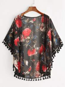 Kimono con estampado floral con espiga