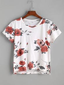Camiseta asimétrica con estampado de flor