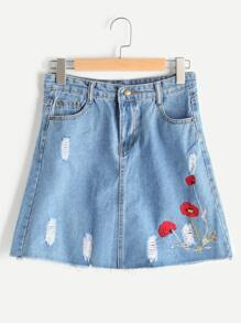 Embroidered Ripped Denim Skirt
