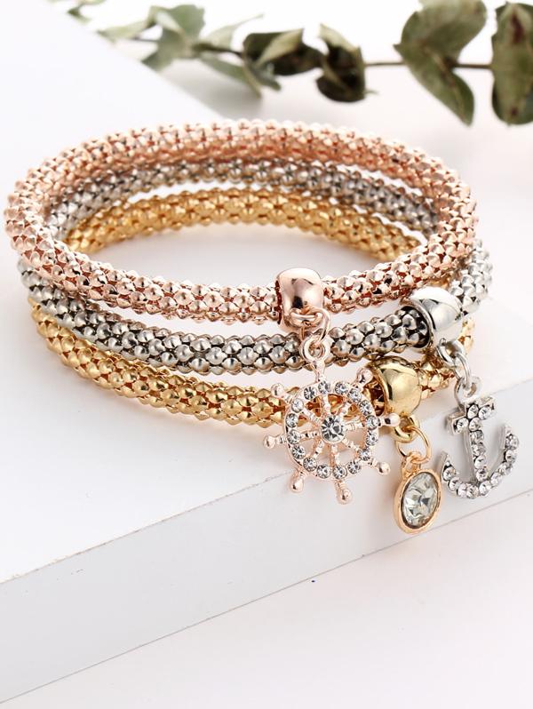Anchor And Rhinestone Charm Bracelet Set, null