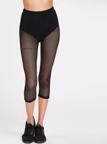 Knicker Insert Crop Fishnet Leggings
