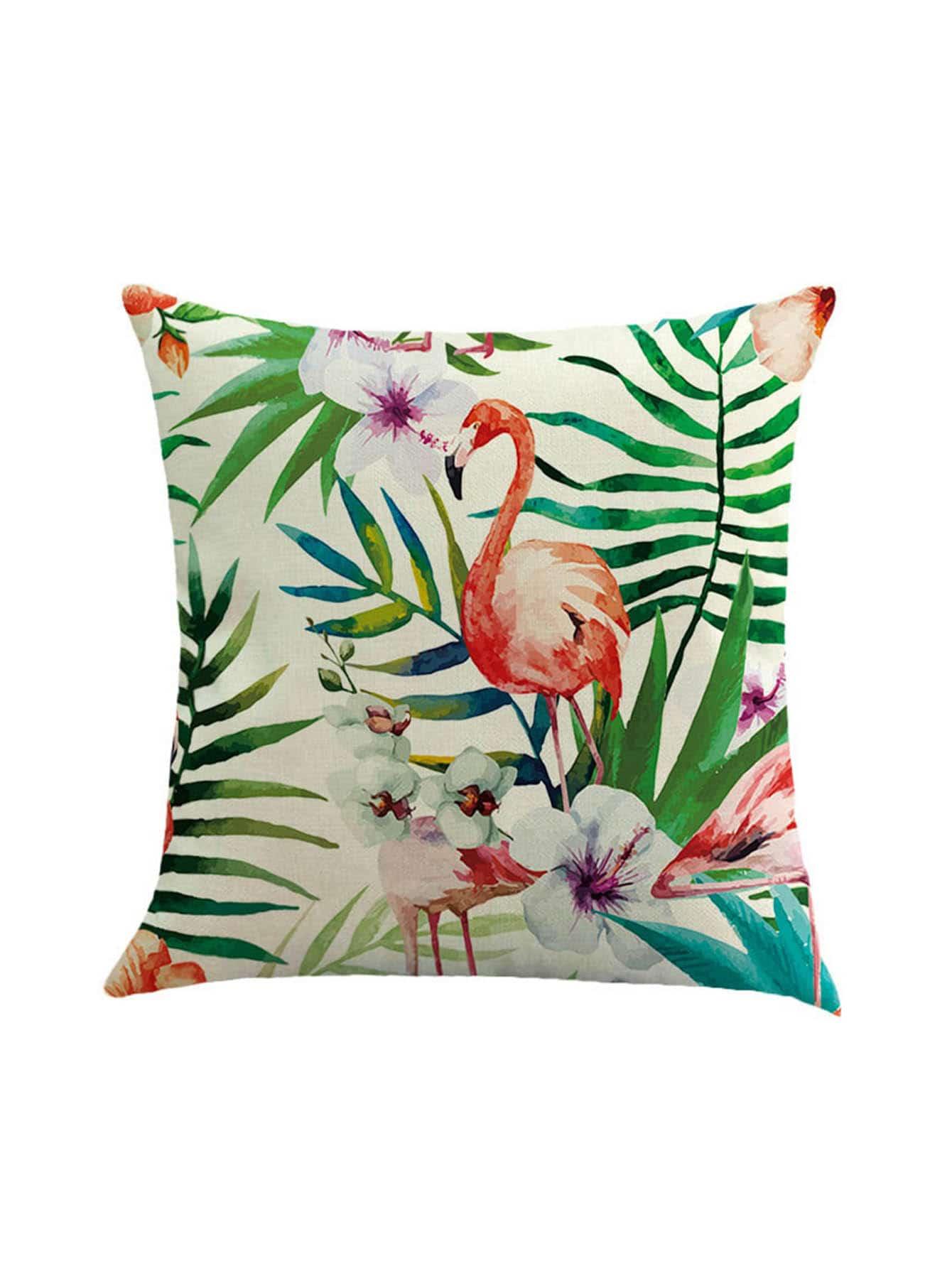 Flamingo Print Cushion Cover