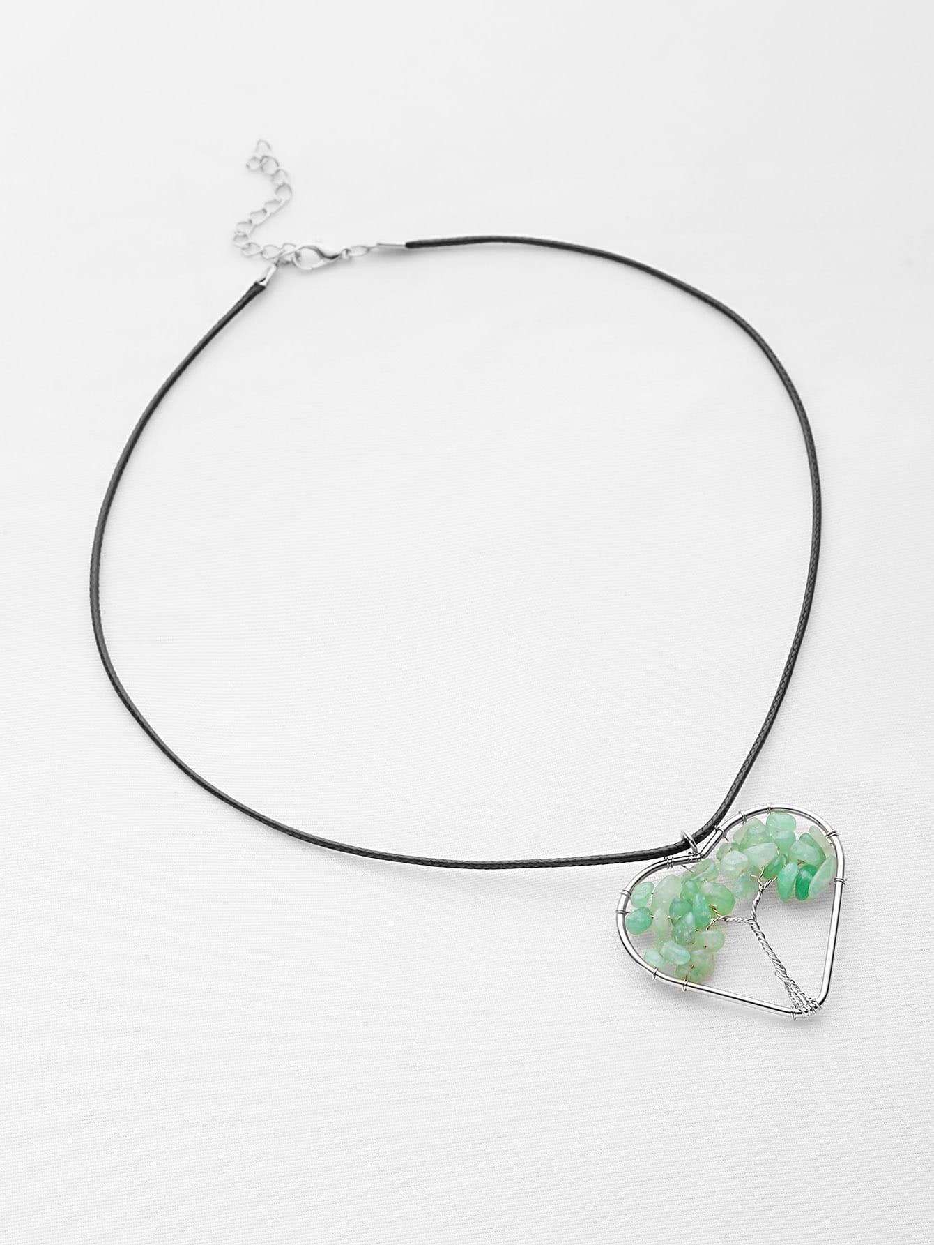 Фото Stone Life Tree Heart Pendant Necklace. Купить с доставкой