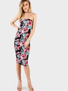 Flower Print Bandeau Midi Dress