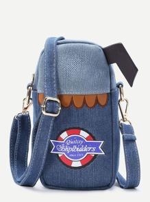 Patch Design Denim Crossbody Bag