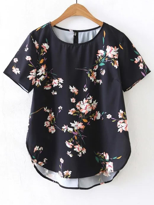 Купить Модная асимметричная блуза с цветочным принтом, null, SheIn