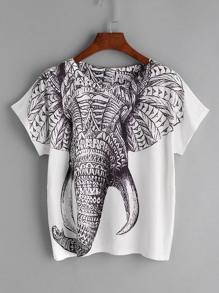 أبيض الفيل طباعة تي شيرت