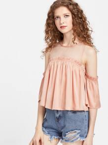 Pink Mesh Shoulder Frilled Cold Shoulder Top