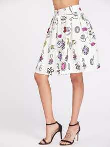 Falda plisada con estampado de ojos y espalda con cremallera