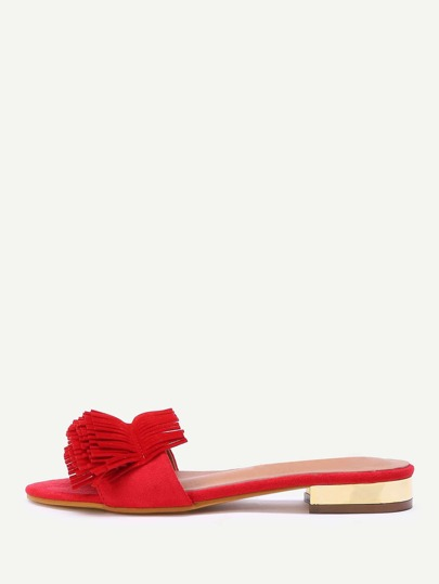 Fringe Design Open Toe Slippers