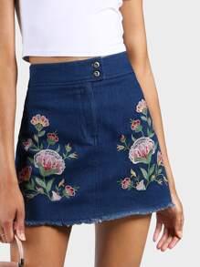 Embroidered A-Line Denim Skirt INDIGO