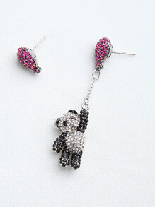 Rhinestone Stud & Panda Drop Earrings