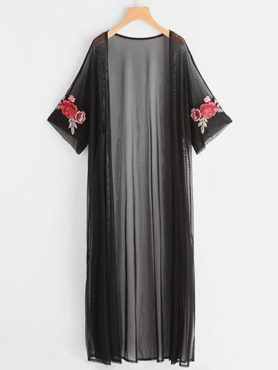 Kimono longue en tulle avec pièce des roses