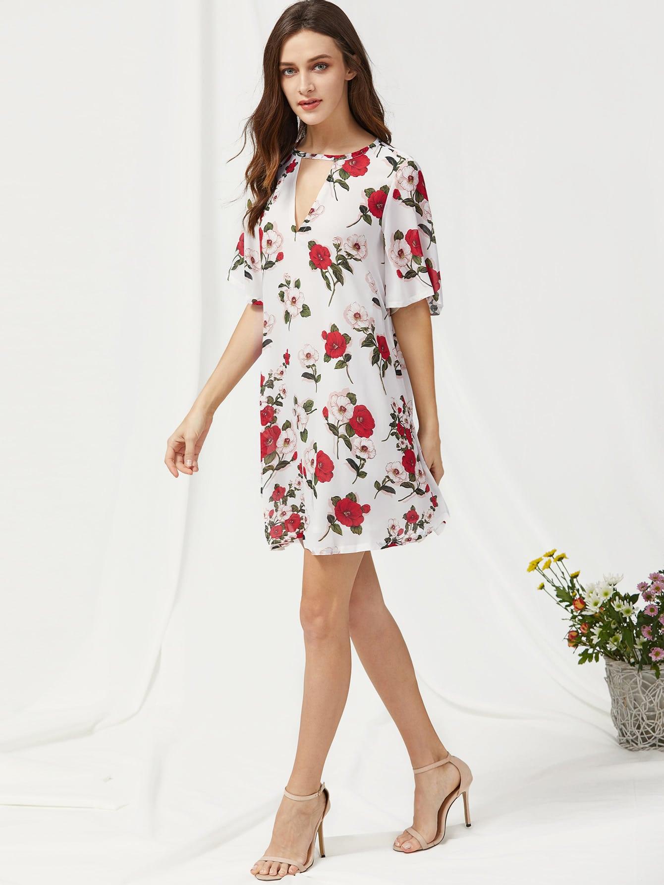 Фото V Cut Short Sleeve Floral Dress. Купить с доставкой