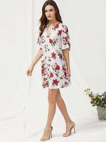 V Cut Short Sleeve Floral Dress