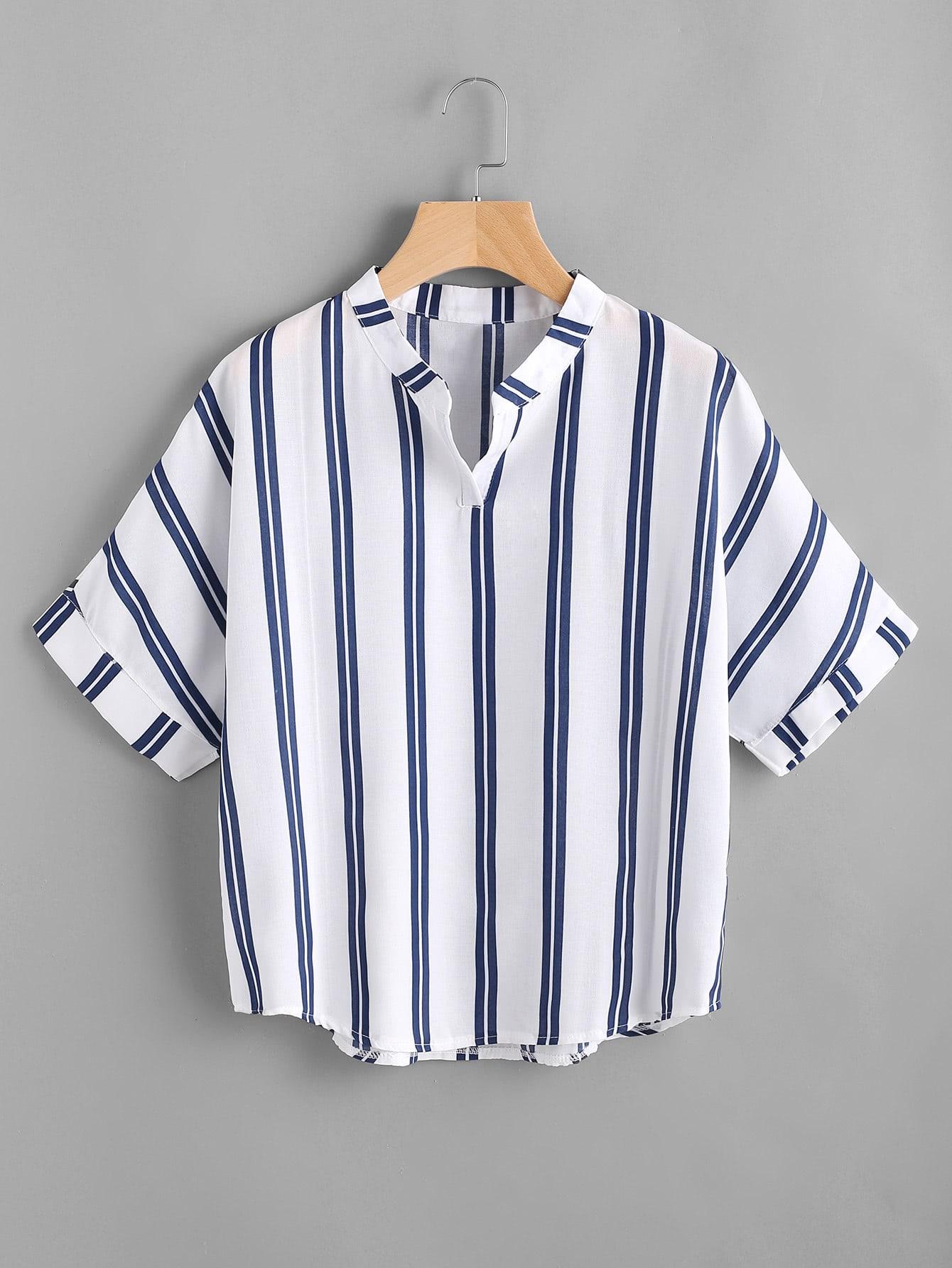 Band Collar Stripe Print Blouse band collar floral blouse