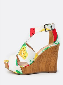Tropical Fruit Print Wedges MULTI