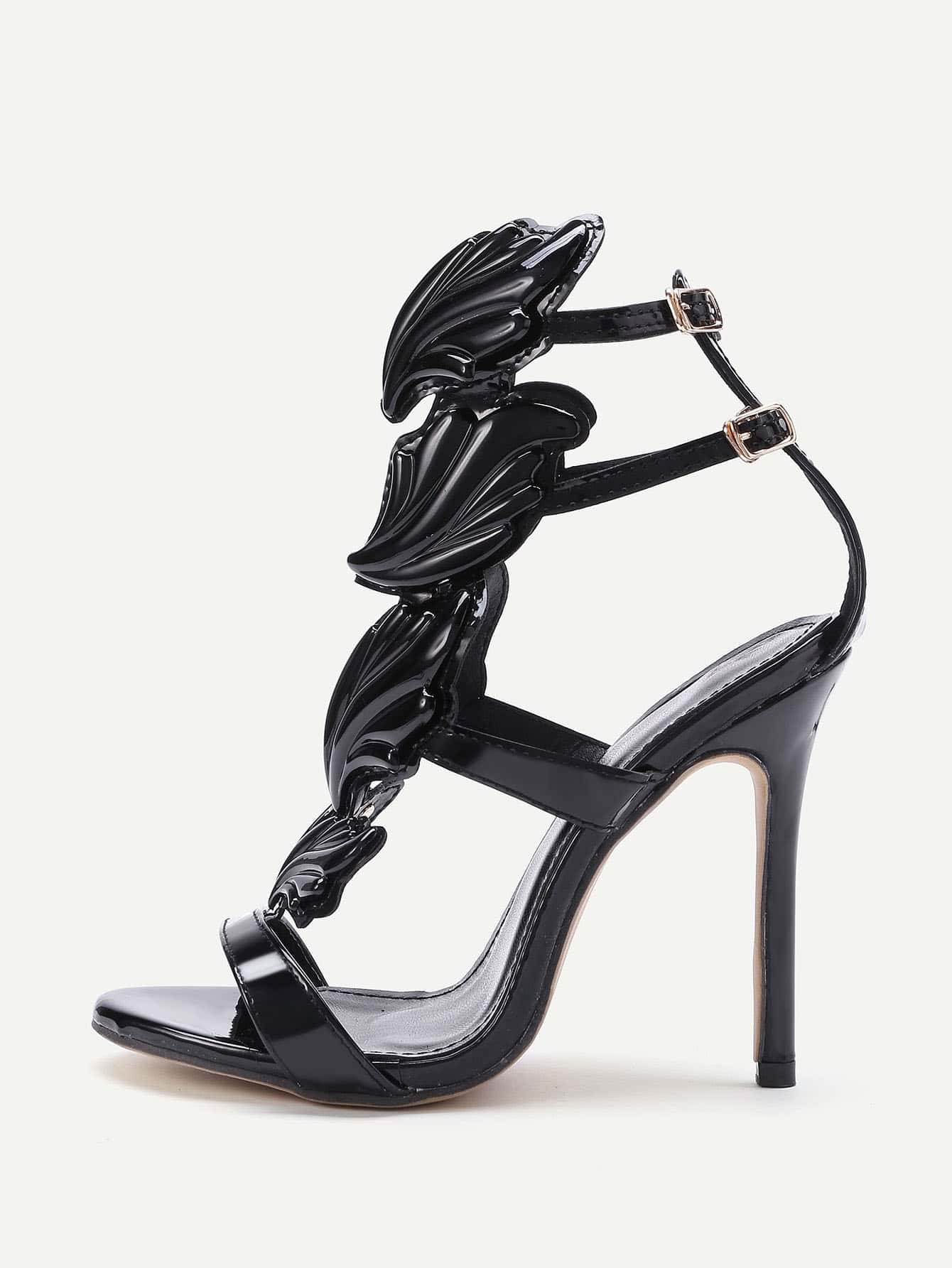 Metallic Leather Wings Heeled Sandals