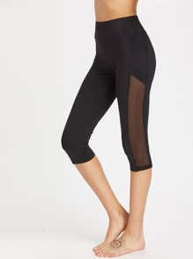 Wide Waistband Mesh Panel Crop Leggings