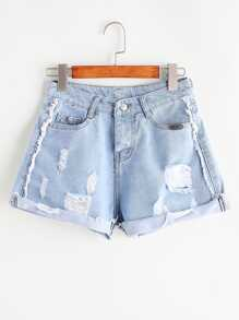 Frayed Rolled Hem Denim Shorts
