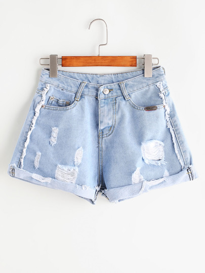Shorts roto de doblez en denim