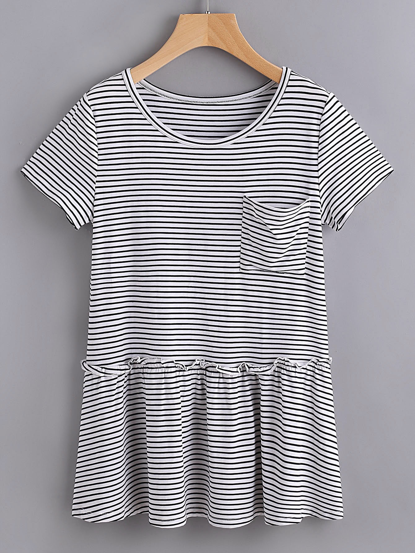 Striped Pocket Front Ruffle Hem Tee pocket front striped night dress