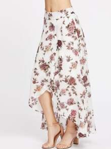 Jupe florale à ourlet haut-bas