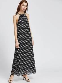 Polka Dot Halter Maxi Dress