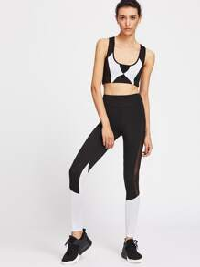 Color Block Gym Bra & Mesh Panel Leggings