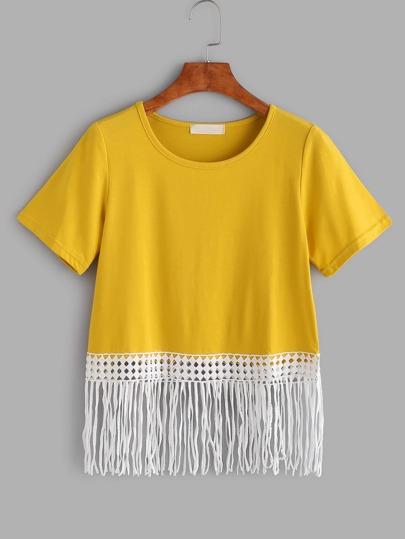 Contrasto giallo frangia pizzo T-shirt