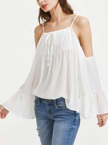 Cold Shoulder Tie Front Bell Sleeve Chiffon Top