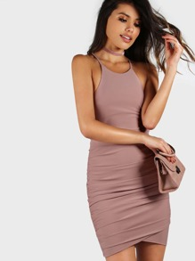 Backless Strap Ruched Bodycon Dress MAUVE