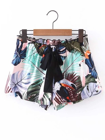 Self Tie All Over Floral Print Shorts