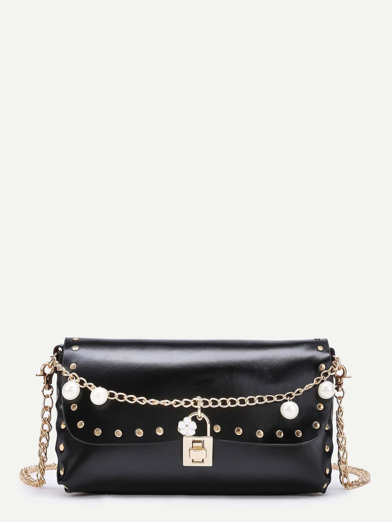 Фото Faux Pearl Design Crossbody Bag With Studded. Купить с доставкой