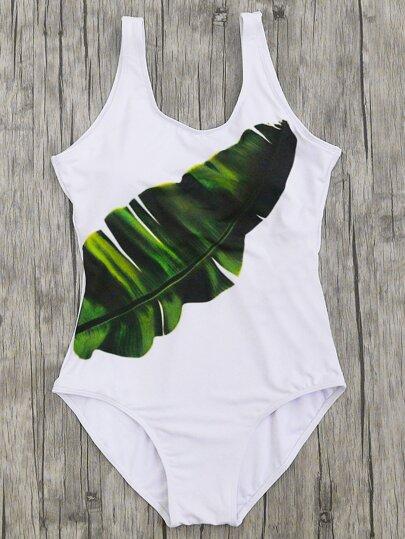 Leaf Print Scoop Neck One Piece Beachwear