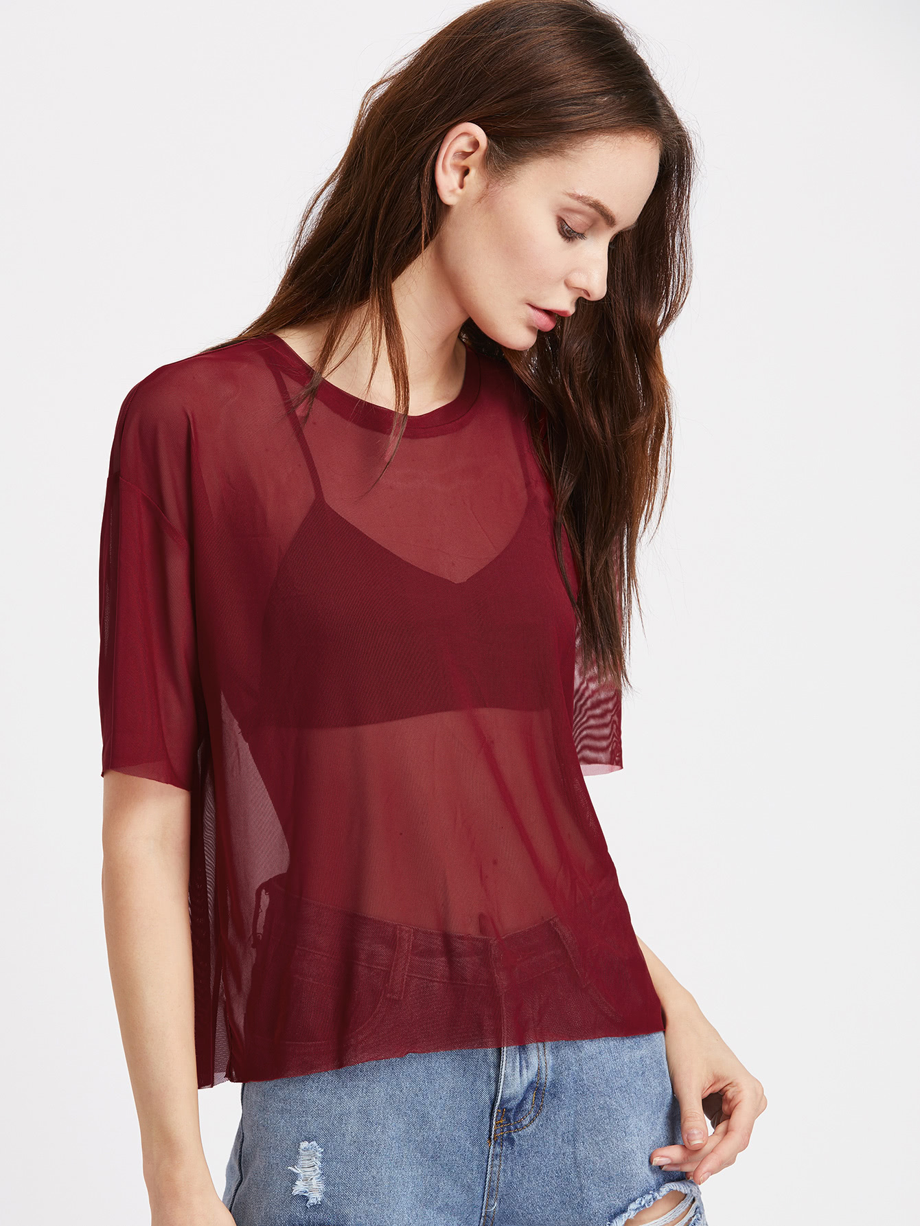 Drop Shoulder Boxy Sheer Mesh Top серьги polina selezneva серьги ps by polina selezneva